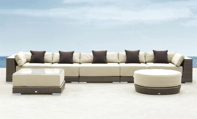 Werth executive patio sectional sofa modern patio for Modern patio furniture