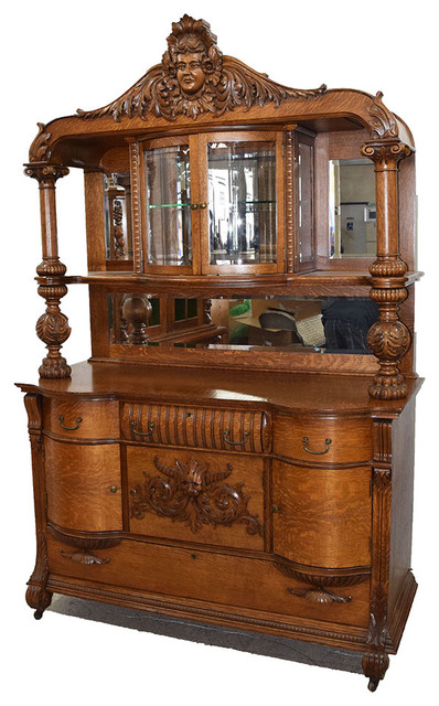 19th Century American Oak Sideboard By Rj Horner