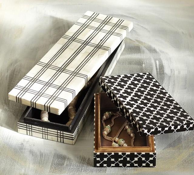Decorative Boxes Pottery Barn : Black white bone boxes contemporary decorative