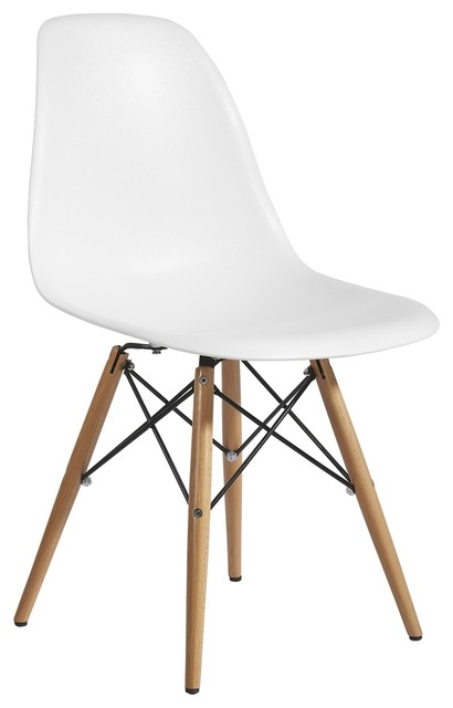 Plastic Side Chair In White With Wooden Base Modern