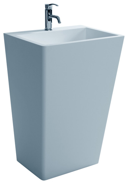 Stone Resin Sink : ADM White Pedestal Stone Resin Sink, Glossy modern-bathroom-sinks