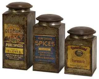Imax addie vintage label wood and metal canister set for Hearth and home designs canister set