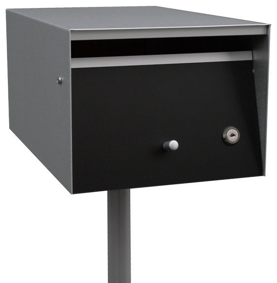 Letterbox, Front Open, Zincalume, Black, Lock, No Flag, No Post - Contemporary - Mailboxes - by ...