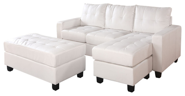 Lyssa sectional sofa reversible chaise ottoman in white for Bonded leather sectional with chaise
