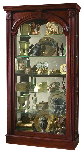 Pulaski Wilshire Cherry 2-Way Sliding Door Curio - Contemporary - China Cabinets And Hutches ...