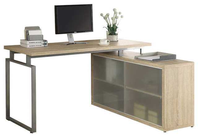natural reclaimed look l shaped desk with frosted glass