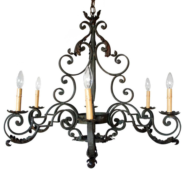 french provincial wrought iron six light chandelier rustic chandeliers denver by eron. Black Bedroom Furniture Sets. Home Design Ideas