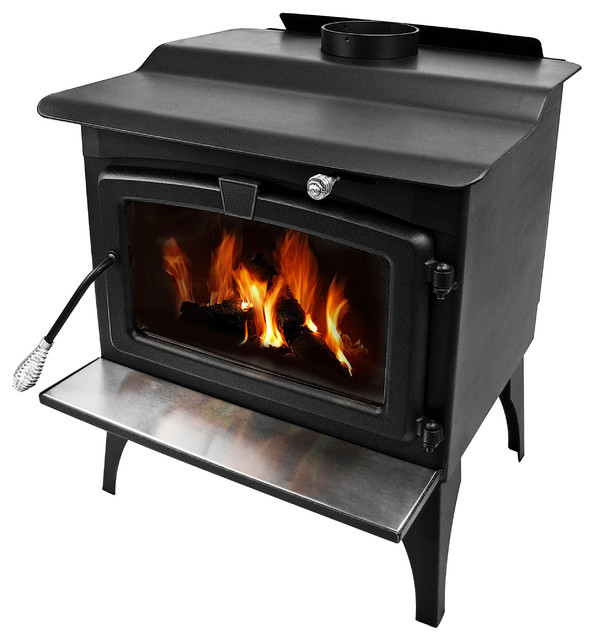 Medium Wood Burning Stove With Blower And Ceramic Glass Window Traditional Freestanding