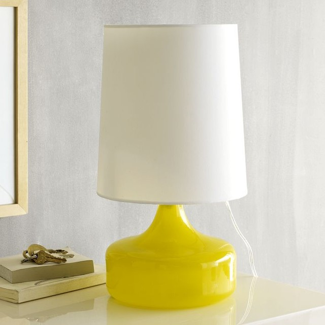 Modern Yellow Lamp and Mettalic Accent