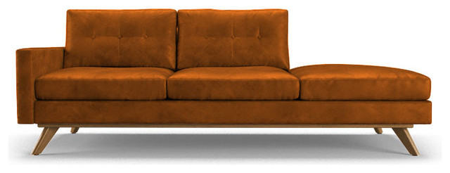 Hopson leather chaise brighton volcano brown for Brown leather chaise longue