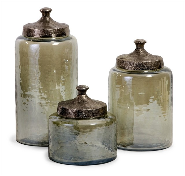 Round Green Luster Canisters  Set of 3 modern kitchen canisters and