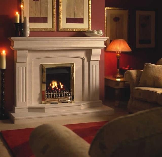 Limestone benson fireplace 54 inch contemporary - Fotos chimeneas modernas ...