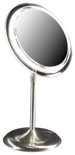 Lighted Adjustable Pedestal Vanity Mirror Contemporary