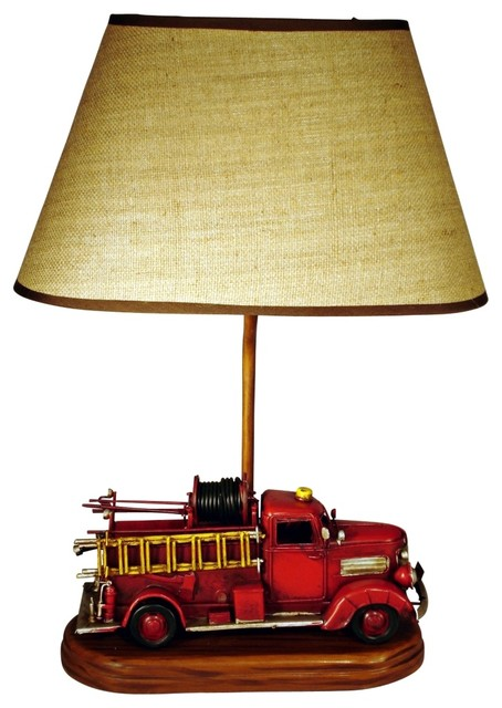 """Fire Engine Themed 21.75"""" High Table Lamp With Shade - Contemporary - Table Lamps - by Lamps Plus"""