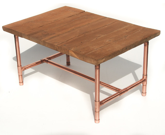 Copper And Reclaimed Wood Coffee Table Industrial And Rustic Feel