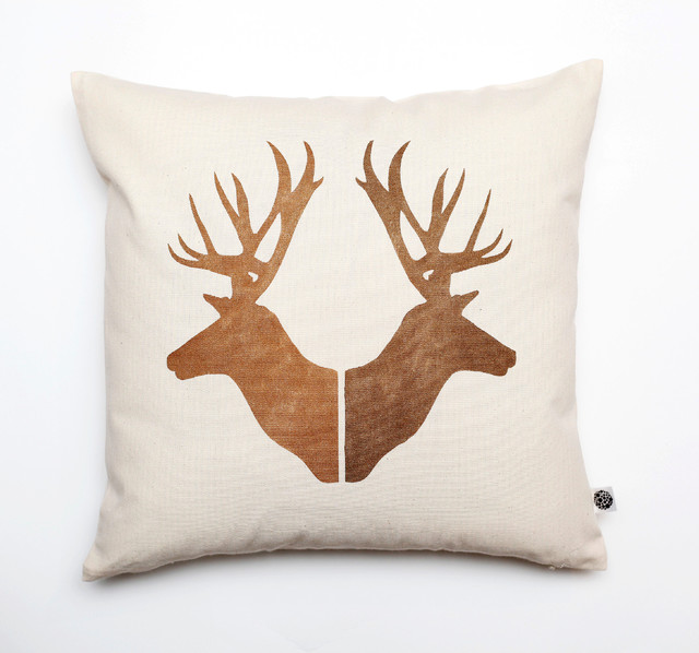 Deer heads pillow cover - Modern - Scatter Cushions - other metro - by Rosita