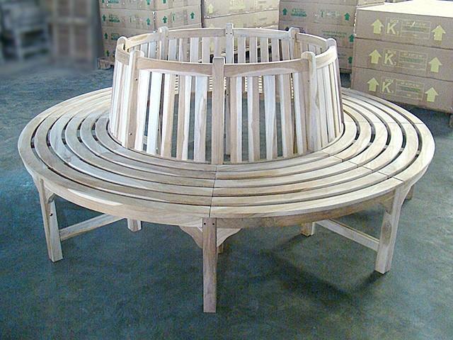 Medium Round Tree Teak Bench 220cm Outdoor Benches Other Metro By Teak Closeouts