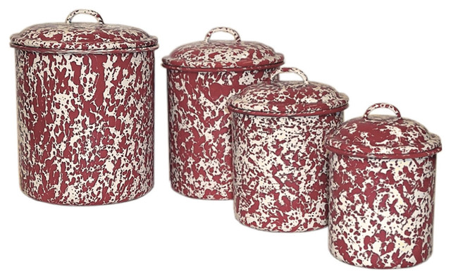 crow canyon canisters set of 4 burgundy cream marble
