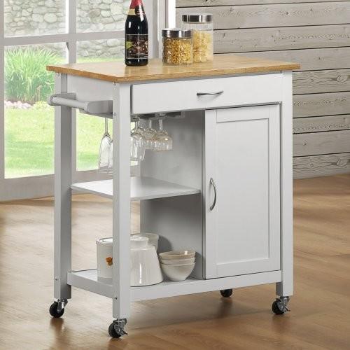 Reno wood top kitchen cart contemporary kitchen - Mesas auxiliares cocina ...