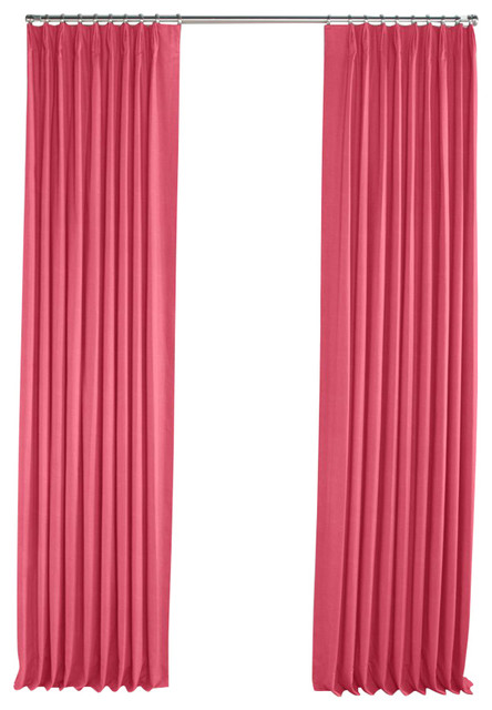 Bright Pink Linen Pleated Curtain, Single Panel contemporary-curtains