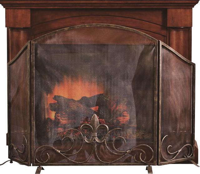 fleur de lis fireplace screen contemporary fireplace