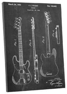 "Fender Bass Guitar Patent Blueprint Gallery Wrapped Canvas Wall Art, 20""x16"" - Industrial ..."
