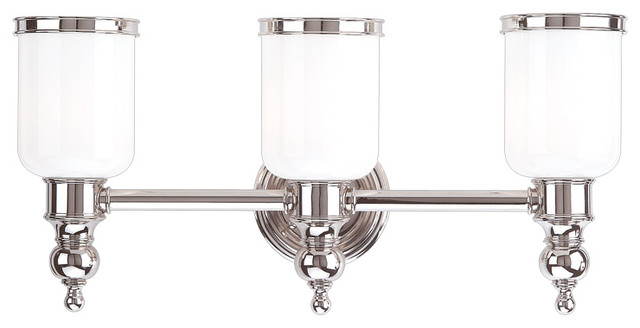 Bathroom Vanity Lights Traditional : Chatham 3 Light Bath Bracket, Polished Nickel - Traditional - Bathroom Vanity Lighting - by ...