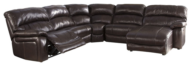 5 piece powered reclining sectional with right arm facing for Flexsteel 4 piece sectional sofa with right arm facing chaise in brown
