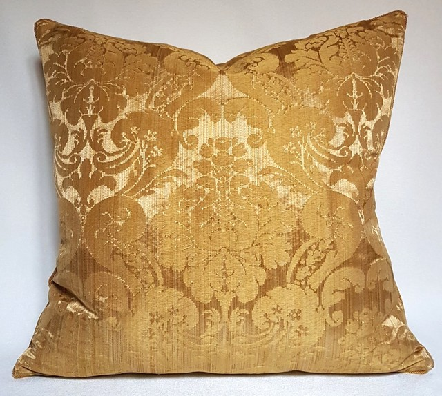 Gold Damask Throw Pillow : Rubelli Ruzante Gold Silk Damask Fabric Throw Pillow Cushion Cover - Decorative Pillows - other ...