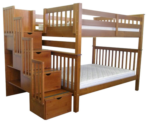 King Bunk Beds Full over Full Stairway  Expresso  Quality Bunk Beds ...