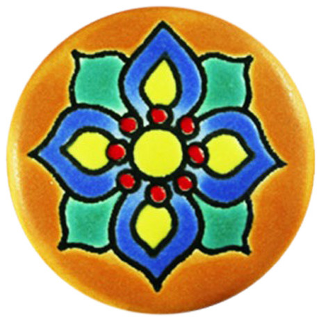 Craftsman Flower Hand Made Mexican Ceramic Knob, 4 Pack - Craftsman - Cabinet And Drawer Knobs ...