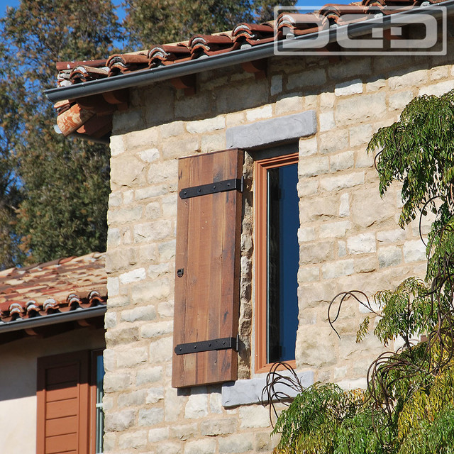 Architectural Exterior Shutters Made Of Reclaimed Barn Wood With Dummy Hardwa