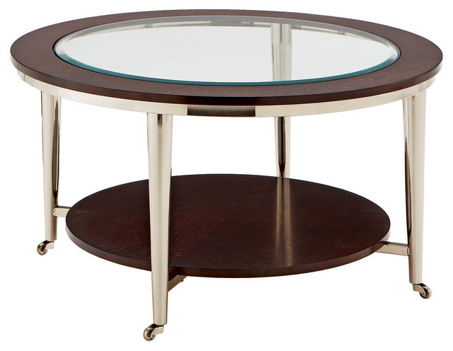 Norton Cocktail Table Glass Top 35 Round Modern Coffee Tables