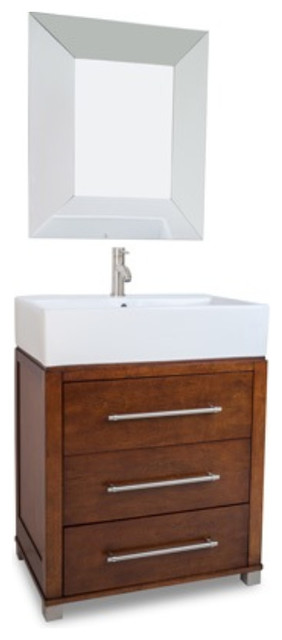 Three drawer wood vanity set with vessel bowl chocolate for Wooden bathroom cabinets without mirrors