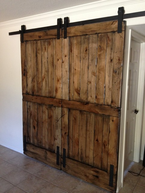 Sliding barn door double size distressed knotty alder for Basement double door