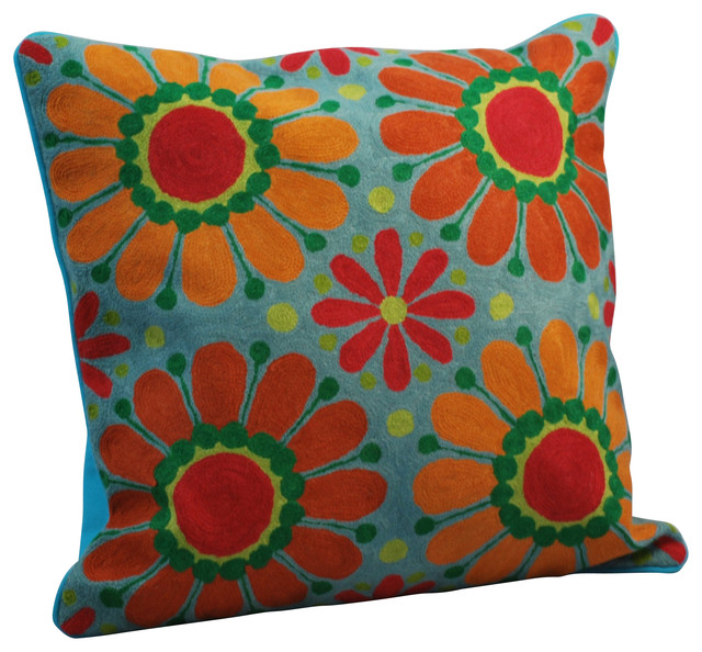 Contemporary Crewel Pillow : Crewel Work Pillow With Sunflower Design - Contemporary - Decorative Pillows - by Modelli Creations