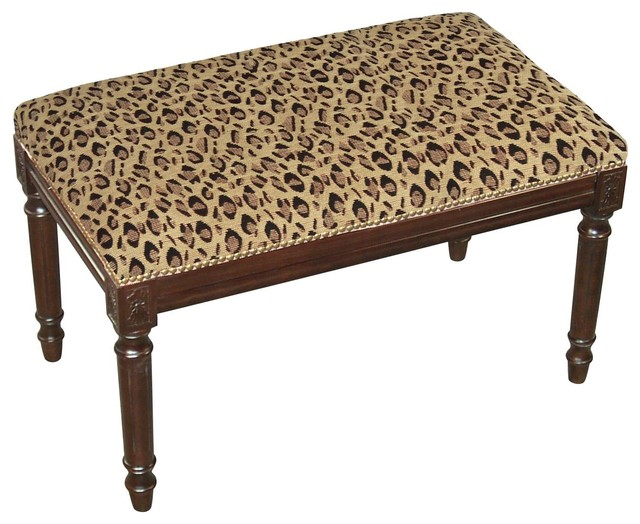 Bench Leopard Wood Stain Upholstered Traditional Upholstered Benches By Euroluxhome