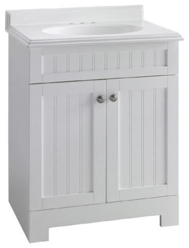ESTATE by RSI 25-Inch White Boardwalk Bath Vanity with Top - Traditional - Bathroom Vanities And ...