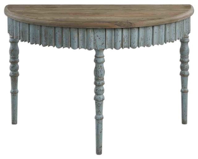 Uttermost seamus 46x23 half moon wood console table for Half moon console table