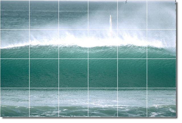 Waves photo custom tile mural 1 traditional tile for Custom tile mural