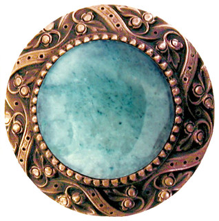 Victorian Knob (antique solid bronze with green aventurine) - Traditional - Cabinet And Drawer ...