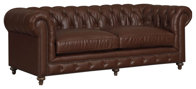 Antique brown chesterfiled style sofa button tufted for Button tufted chaise settee velvet aubergine