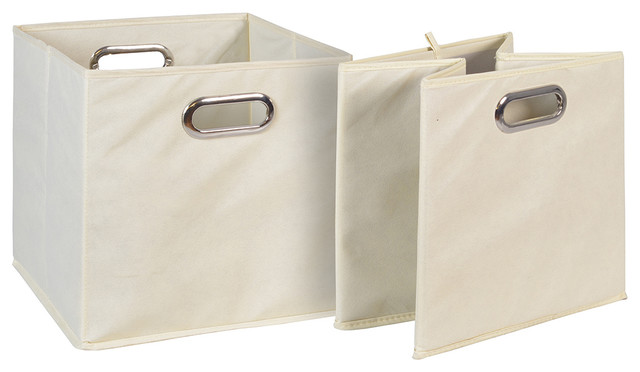 Niche Cubo Set Of 2 Foldable Fabric Storage Bins Beige Transitional Storage Bins And Boxes