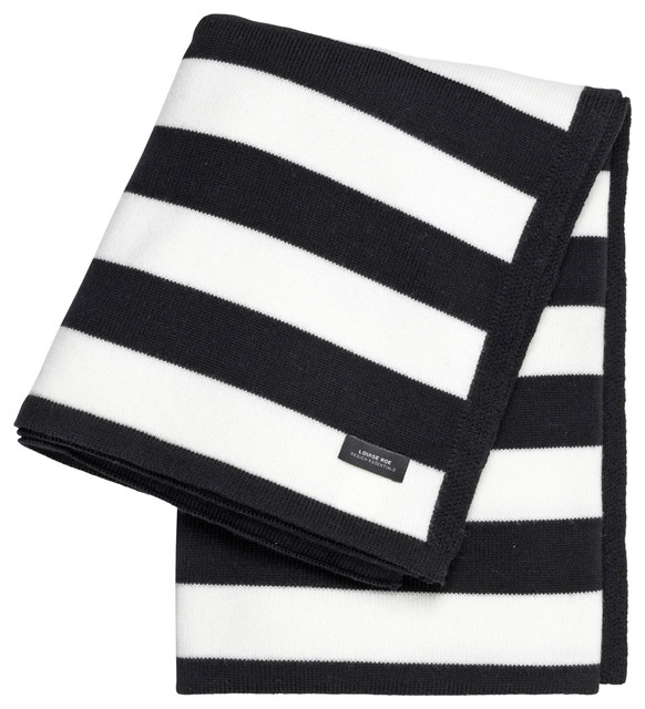 Striped Cashwool Throw Black And White Contemporary