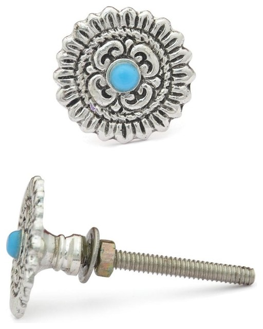 Knobs, Metal Knobs With Turquoise Center, Set of 2 traditional-cabinet ...