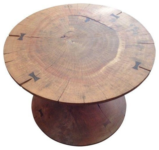 Solid Acacia Wood Round Coffee Table Contemporary Coffee Tables By Chairish
