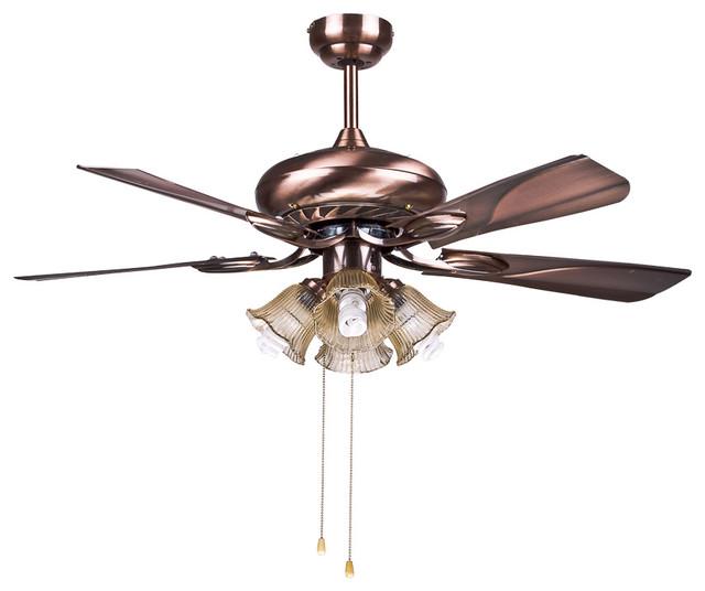 Antique Brass Ceiling Fans Lamp For Living Room Modern