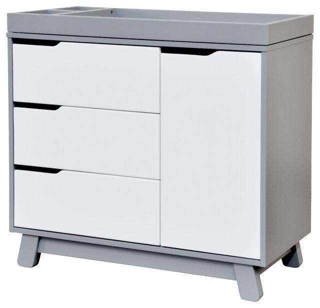 Hudson 3 Drawer Changer Dresser Gray And White
