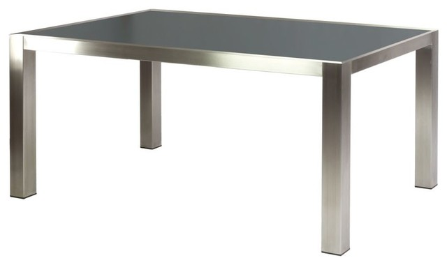 table rectangulaire 1 5 x 0 9 m inox et grc gris anthracite avec 6 fauteuils moderne table. Black Bedroom Furniture Sets. Home Design Ideas