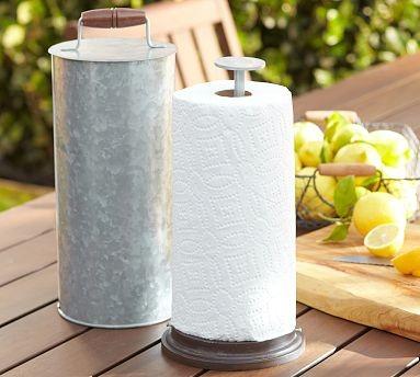 Galvanized metal outdoor kitchen paper towel holder for Outdoor towel caddy
